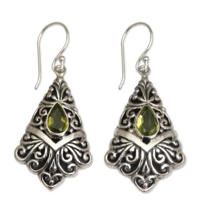 Peridot Dangle Earrings in Sterling Silver Settings