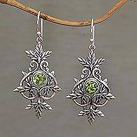 Peridot dangle earrings, 'Marvelous Vintage' - Sterling Silver and Peridot Leaf Dangle Earrings