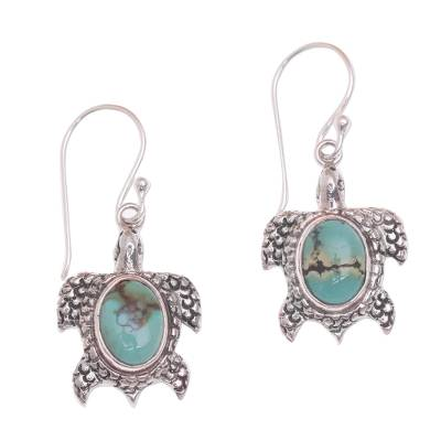 Reconstituted Turquoise Turtle Earrings in Sterling Silver