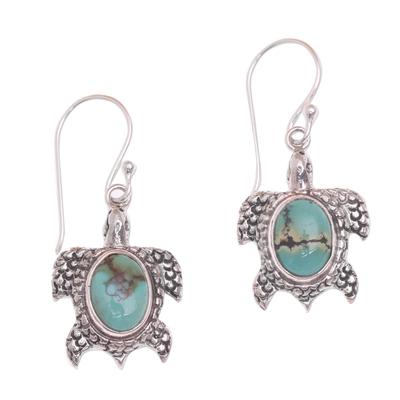 Sterling silver dangle earrings, 'Turtle Pond' - Reconstituted Turquoise Turtle Earrings in Sterling Silver