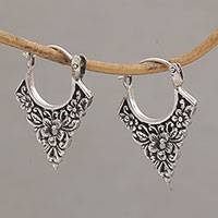 Sterling silver hoop earrings, 'Floral Points' - Floral Pointed Sterling Silver Hoop Earrings from Bali