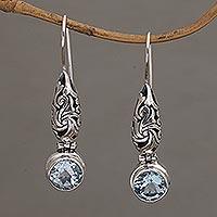 Blue topaz dangle earrings, 'Ocean Vine' - Blue Topaz and Silver Dangle Earrings from Bali
