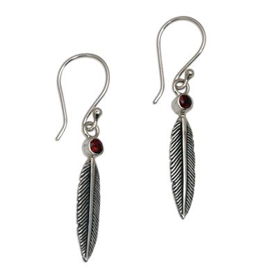 Garnet dangle earrings, 'Phoenix Feathers' - Garnet Feather-Shaped Dangle Earrings from Bali