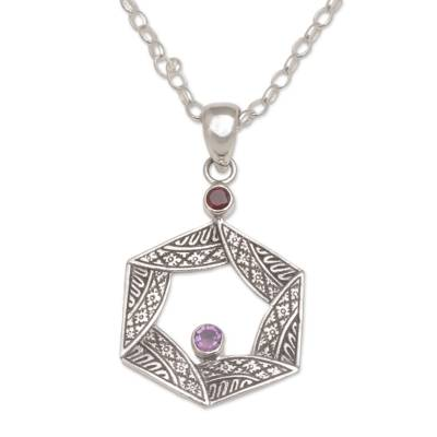 Garnet and amethyst pendant necklace, 'Songket Hex' - Garnet and Amethyst Songket Motif Pendant Necklace from Bali
