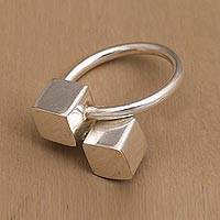 Sterling silver wrap ring, 'Abstract Cubes' - Handcrafted Cube Sterling Silver Wrap Ring from Bali