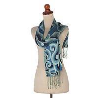 Silk batik scarf, 'Mega Mendung' - Blue and Green Patterned Batik Silk Scarf from Bali