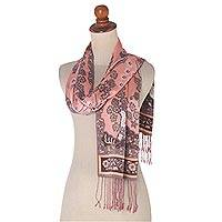 Silk batik scarf, 'Blushing Eden' - Blush and Grey Floral Batik Silk Scarf Wood Box Gift Set