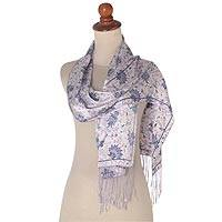 Silk batik scarf, 'Mystic Tundra' - Lavender Floral Silk Scarf with Fringe and Wood Gift Box