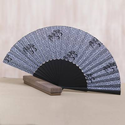 Silk batik fan, 'Bali Kingdom' - Exotic 100% Silk Batik Fan in Grey and Black