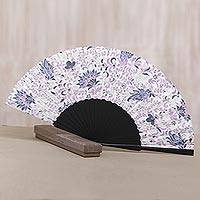 Silk batik fan, 'Flower Queen' - Lilac Floral Silk Batik Fan from Bali Artisans