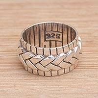 Sterling silver band ring, 'Move in Silence' - 925 Sterling Silver Handmade Woven Motif Band Ring