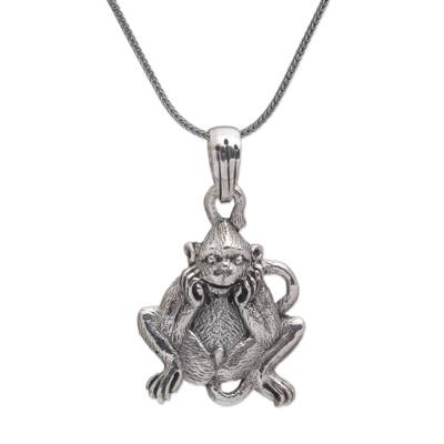 Sterling Silver Lutung Monkey Pendant Necklace from Bali