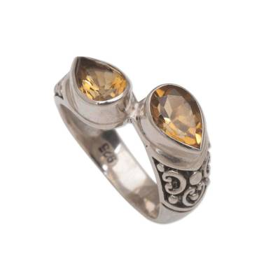 Teardrop Citrine and Silver Cocktail Ring from Bali