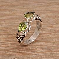Peridot cocktail ring, 'Temple Tears' - Teardrop Peridot and Silver Cocktail Ring from Bali