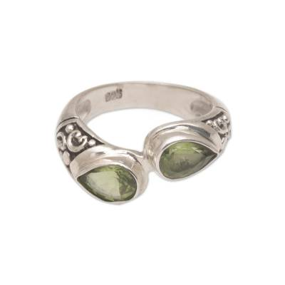 Teardrop Peridot and Silver Cocktail Ring from Bali