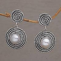 Cultured pearl dangle earrings, 'Moonlight Spirals' - Spiral Motif Cultured Pearl Dangle Earrings from Bali