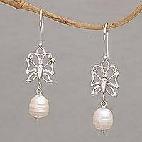 Cultured pearl dangle earrings, 'Butterfly Eden' - Cultured Pearl Butterfly Dangle Earrings from Bali