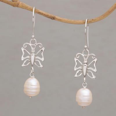 Novica Cultured pearl dangle earrings, Purnama Moon