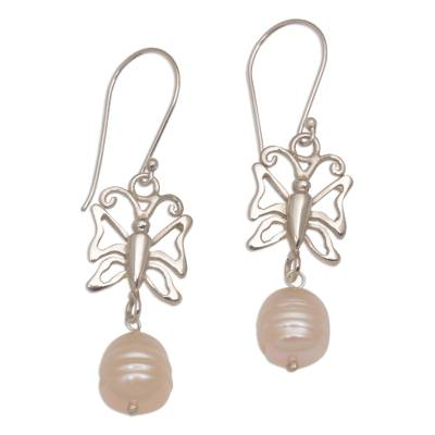 Cultured Pearl Butterfly Dangle Earrings from Bali