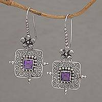 Amethyst dangle earrings, 'Floral Squares' - Floral Amethyst and Silver Dangle Earrings from Bali