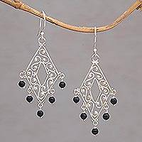 Onyx chandelier earrings, 'Temple Shower' - Handcrafted Diamond-Shaped Onyx Dangle Earrings from Bali