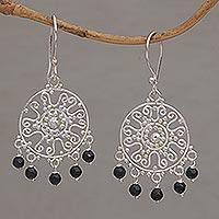 Onyx chandelier earrings, 'Dreamy Shower' - Handcrafted Onyx Chandelier Earrings from Bali