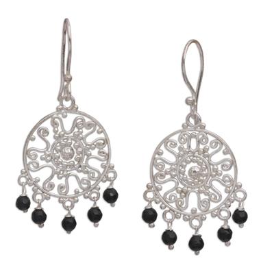 Handcrafted Onyx Chandelier Earrings from Bali