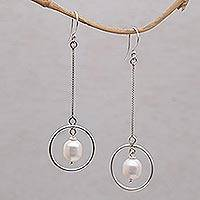 Cultured pearl dangle earrings, 'Pebble Rings' - Pearl and Sterling Silver Dangle Earrings from Bali