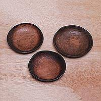 Leather catchalls, 'Natural Vibe' (set of 3) - Set of 3 Handcrafted Brown Leather Catchalls from Bali