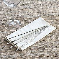Stainless steel cocktail picks, 'Silver Skewer' (set of 4) - Stainless Steel Cocktail Picks from Indonesia (Set of 4)
