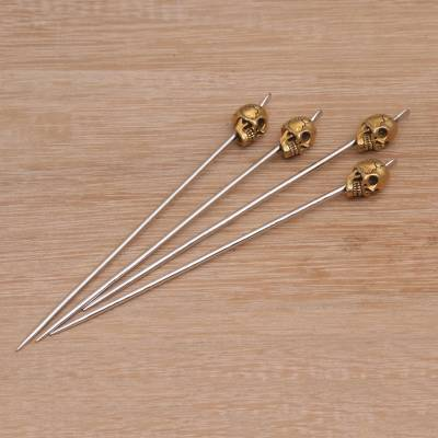 Stainless steel and brass cocktail picks, 'Smiling Skull' (set of 4) - Stainless Steel and Brass Cocktail Picks (Set of 4)