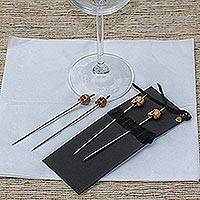 Stainless steel and cow bone cocktail picks, 'Grinning Skull' (set of 4) - Stainless Steel and Bone Cocktail Picks (Set of 4)