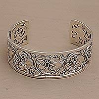 Sterling silver cuff bracelet, 'Undergrowth' - Detailed Sterling Silver Vine and Leaf Cuff Bracelet