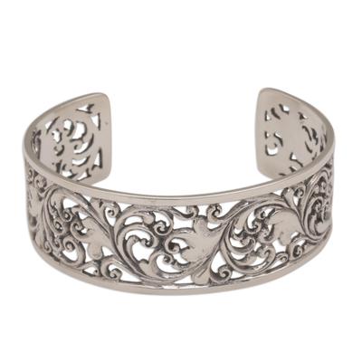 Sterling silver cuff bracelet, 'Undergrowth' - Detailed Sterling Silver Vine and Leaf Cuff Bracelet