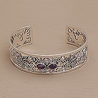 Amethyst cuff bracelet, 'Dragon Duel' - Dragon Themed Sterling Silver and Amethyst Cuff Bracelet