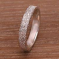Sterling silver mid-finger band ring, 'Tarmac' - Sterling Silver Mid-Finger Band Ring from Bali