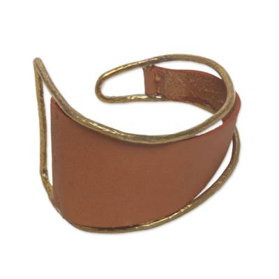 Golden Tan Leather and Brass Cuff Bracelet from Bali