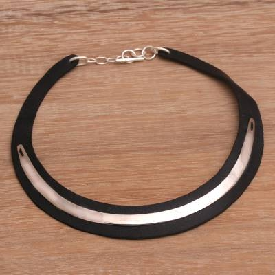 Leather and sterling silver plated brass choker, 'Lavish Night' - Handmade Leather and Silver Plated Brass Choker from Bali