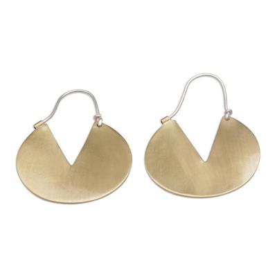 Flat Brass Hoop Earrings with 925 Sterling Silver Hooks