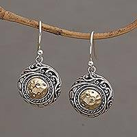 Gold accented sterling silver dangle earrings, 'Endless Radiance' - Balinese Style Gold and Sterling Silver Dangle Earrings