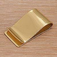 Brass money clip, 'Timeless Classic' - Classic Style Plain Brass Money Clip from Bali