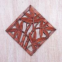 Wood relief panel, 'Bamboo Copse' - Hand-Carved Suar Wood Relief Panel of Bamboo from Bali