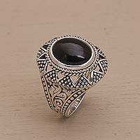 Onyx cocktail ring, 'Midnight Light' - Onyx and Sterling Silver Cocktail Ring from Bali