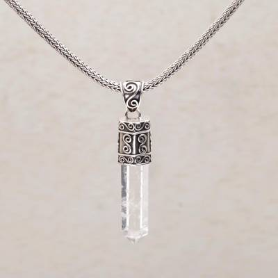 Crystal clear quartz pendant necklace in sterling silver crystal quartz pendant necklace crystal vision crystal clear quartz pendant necklace in sterling mozeypictures Image collections