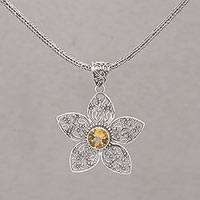 Citrine pendant necklace, 'Golden Center' - Silver Flower Pendant Necklace with 1.5 Carat Citrine