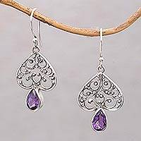 Amethyst dangle earrings, 'Regal Spades' - Amethyst and Sterling Silver Dangle Earrings from Bali
