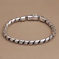 Sterling silver chain bracelet, 'Sleek Style' - High-Polish Sterling Silver Chain Bracelet form Bali