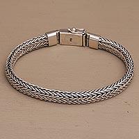 Sterling silver chain bracelet, 'Bali Shine' - Sterling Silver Foxtail Chain Bracelet from Bali