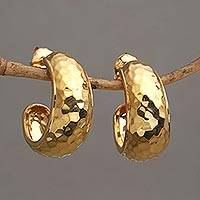 Gold plated sterling silver half hoop earrings, 'Radiant Shine' - Balinese Gold Plated 925 Half Hoop Silver Earrings
