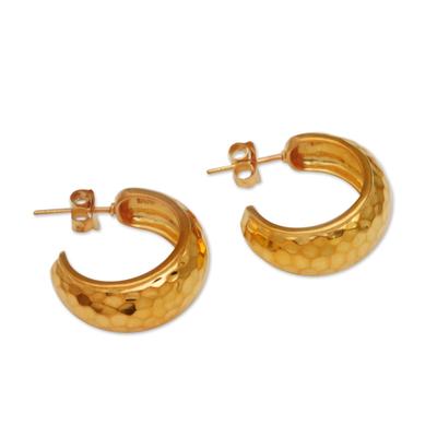 Gold plated sterling silver half hoop earrings, 'Radiant Shine' - Balinese Gold Plated 925 Half Hoop Silver Earrings